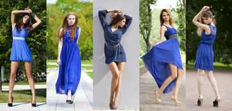 Collage of five beautiful models in blue dress Stock Photos