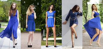 Collage of five beautiful models in blue dress Royalty Free Stock Image