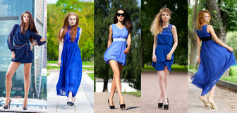 Collage of five beautiful models in blue dress Stock Photography