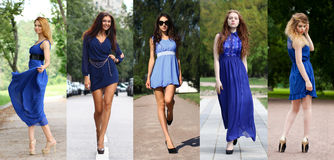 Collage of five beautiful models in blue dress Royalty Free Stock Photography