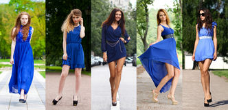 Collage of five beautiful models in blue dress Stock Photo
