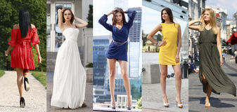 Collage of five beautiful models in colored summer dresses Stock Photos