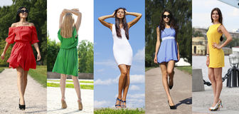 Collage of five beautiful models in colored summer dresses Royalty Free Stock Photo