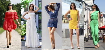 Collage of five beautiful models in colored summer dresses Royalty Free Stock Photos