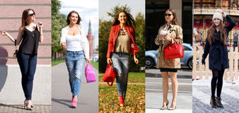 Collage five fashion young women Royalty Free Stock Image