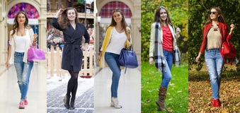 Collage five fashion young women Royalty Free Stock Photo