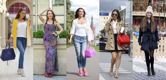 Collage five fashion young women Stock Image