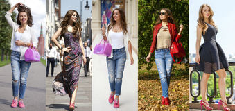 Collage five fashion young women Royalty Free Stock Photography