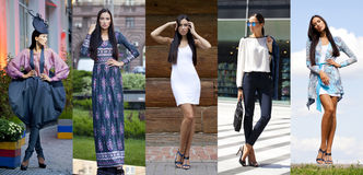Collage five fashion young women Stock Photos