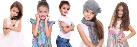 Collage, five happy little girls Stock Photos