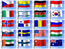 Collage from flags of the different countries Stock Photo