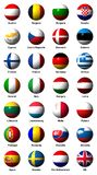 Collage of flags of the European Union with labels Stock Photo