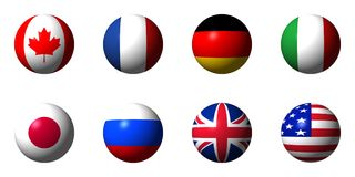 Collage of flags of the G8 countries Stock Images