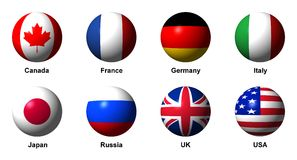 Collage of flags of the G8 countries with labels Royalty Free Stock Image