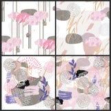 Collage floreale astratto del Giappone della carta degli elementi illustrazione di stock
