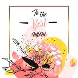 Collage floreale dell'estratto disegnato a mano di vettore con alla citazione di calligrafia della mamma di meglio, i fiori e la  Fotografie Stock