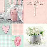 Collage of flowers and presents Stock Photo