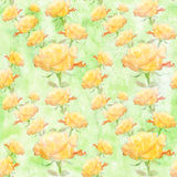 Collage of flowers rose in watercolor. Seamless wallpaper. Stock Photos