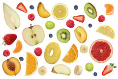 Collage of flying fruits like apples fruit, oranges, banana and Stock Photography