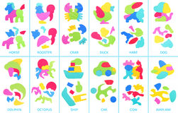 Collage of foam puzzle. Assembled and disassembled puzzles Royalty Free Stock Images