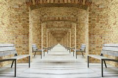 Collage fom benches and long corridor. Collage fom benches in long corridor Stock Photography