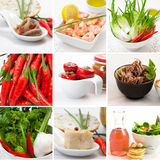 Collage food. A collage of different photos representing seafood and vegetables Royalty Free Stock Image