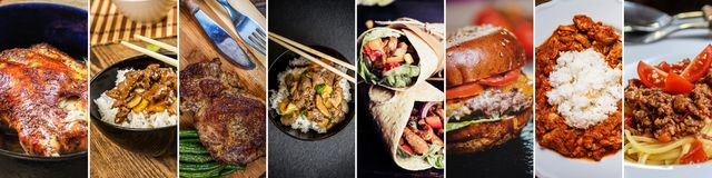Collage of food. The image show chinese food, tortilla, hamburger, rice, spaghetti and steak royalty free stock photos
