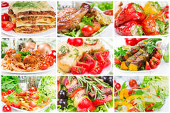 Collage of food. For lunch and dinner royalty free stock images