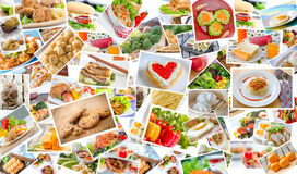 Collage of food. Menu asian, american and chinese royalty free stock photo