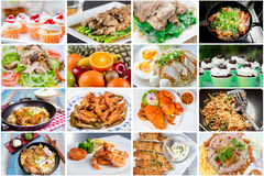 Collage of food. Collage picture of food menu asian, american and chinese food stock photo