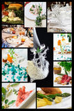 Collage of food related pictures.  stock photos