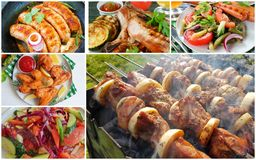 collage food, shish kebab, salad, meat, barbecue stock photography