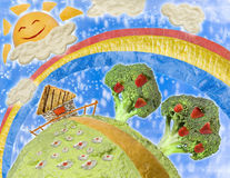 Collage of food in the style of childrens drawings. A Fantastic landscape of food Stock Photography