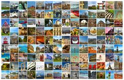 Collage of food, things and place for the world. Collage of a pictures of food, objects, landmark, landscape and touristic place in the world stock photography