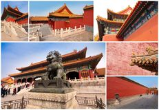 Collage of the Forbidden City, Beijing China Royalty Free Stock Photo