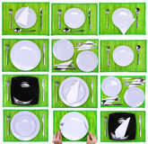 Collage- forks,knifes,spoons on green background. Composition of forks, knifes, spoons on green background Royalty Free Stock Images