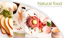 Collage form photos of natural food. On the white background stock images