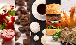 Collage form photos of natural food. On the white and black backgrounds stock images