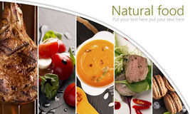 Collage form photos of natural food Stock Image