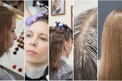 Collage in the form of vertical stripes showing phases of hair coloring in the beauty salon.  stock image