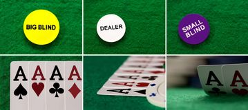 Collage four aces on the table casino stock images