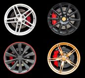 Collage of Four car rims. Royalty Free Stock Images