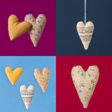 Collage of four colorful squares with fabric hearts. Stock Photography