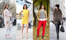 Collage of four different models in fashionable clothes for the Royalty Free Stock Images