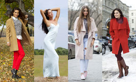 Collage of four different models in fashionable clothes for the Royalty Free Stock Image