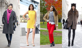 Collage of four different models in fashionable clothes for the Stock Photo