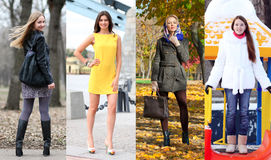 Collage of four different models in fashionable clothes for the Royalty Free Stock Photo
