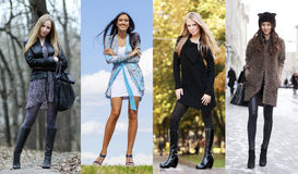 Collage of four different models in fashionable clothes for the Royalty Free Stock Photos