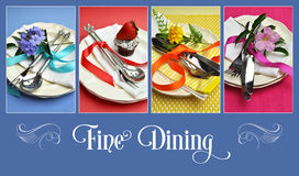 Collage of four fining dining images. With sample text for Easter, Thanksgiving, Christmas, birthday, wedding or special occasion table settings in blue, pink Stock Photos