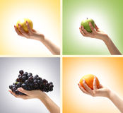 A collage of four images with different fruits Stock Image